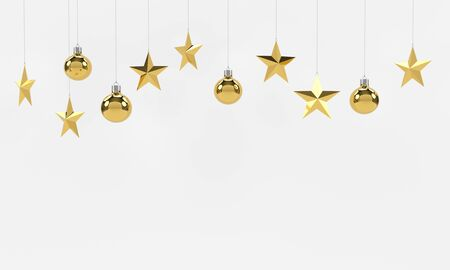 christmas stars: Hanging golden balls and stars ornaments isolated on white background. For new year or christmas theme. 3D rendering.