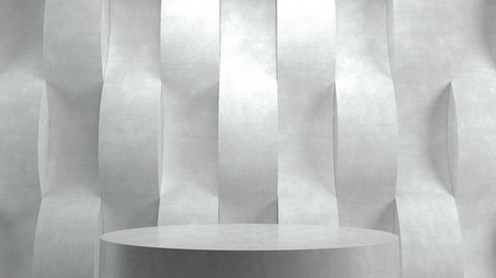 interior spaces: Empty podium on wave pattern background. 3D rendering.