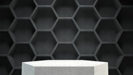 blank spaces: Empty podium on dark hexagons pattern background. 3D rendering.