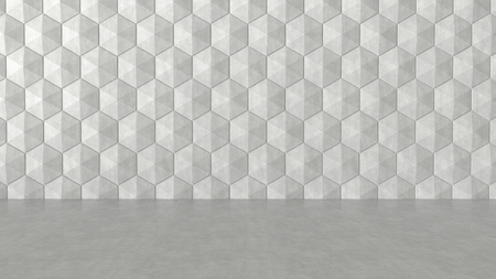 concrete background: Floor and hexagons concrete pattern background. 3D rendering.