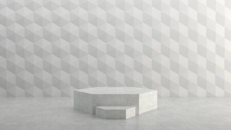 Empty stage on hexagons pattern background. 3D rendering.