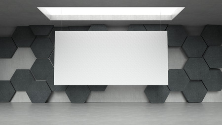 rendering: Empty modern exhibition gallery interior with hexagons pattern background and hanging white canvas. 3D rendering. Stock Photo