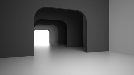 futuristic interior: Empty dark modern interior room with light from entrance. 3D rendering.