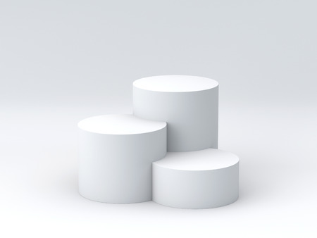 Empty podium on white background. 3D rendering.