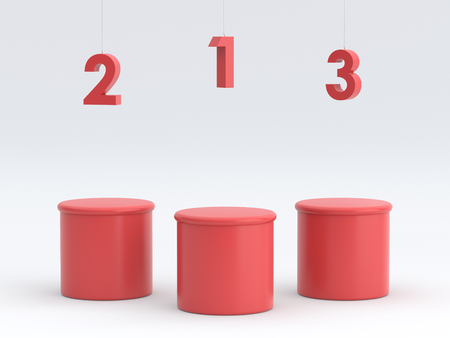 Empty red winners podium on white background. 3D rendering.