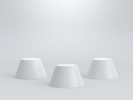 Empty winners podium on white background. 3D rendering.