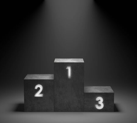 Empty winners concrete podium with neon number  glowing light on spotlight background. 3D rendering.
