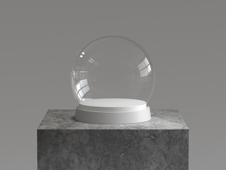 Empty snow glass ball with white tray on concrete podium. 3D rendering. Фото со стока