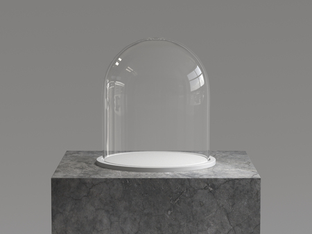 Empty glass dome with white tray on concrete podium. 3D rendering.