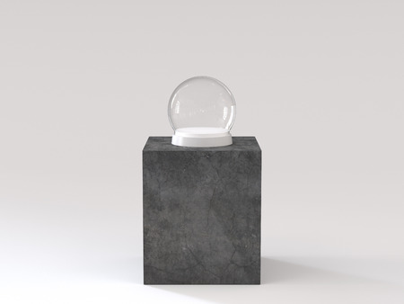 Empty snow glass ball with white tray on dark concrete podium. 3D rendering.