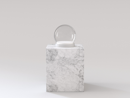 Empty snow glass ball with white tray on white marble podium. 3D rendering. Фото со стока