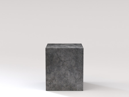 Empty black concrete podium on white background. 3D rendering.