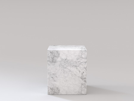 Empty white marble podium on white background. 3D rendering. Фото со стока