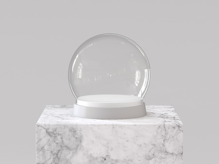Empty snow glass ball with white tray on white marble podium. 3D rendering. Stock Photo