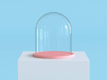 Empty glass dome with pastel pink tray on white  podium with pastel blue background. Kids theme. 3D rendering. Фото со стока