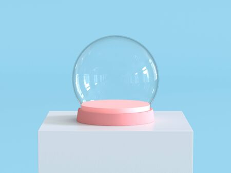 Empty snow glass ball with pastel pink tray on white  podium with pastel blue background. Kids theme. 3D rendering.