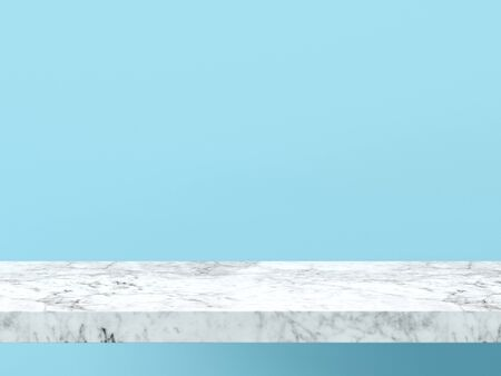 Empty white marble shelf on pastel blue wall background. 3D rendering. Фото со стока