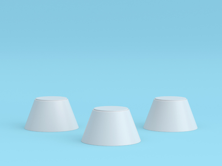 Empty white winners podium on pastel blue color background. 3D rendering.