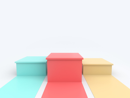 Empty pastel green pink yellow winners podium on white background. 3D rendering. Фото со стока