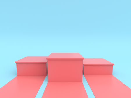 Empty pastel pink winners podium on pastel blue color background. 3D rendering. Фото со стока