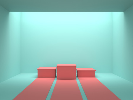 Empty pastel pink winners podium in green color room with light from ceiling. 3D rendering. Фото со стока