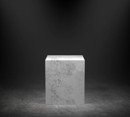 Empty marble podium on concrete floor with spotlight background. 3D rendering.