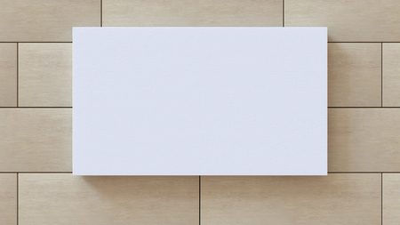 White blank canvas on wood pattern wall background. 3D rendering.