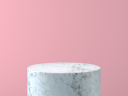 Empty white marble podium on pastel pink color background. 3D rendering.