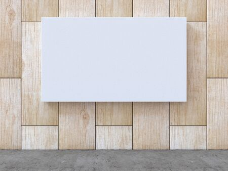 White blank canvas on wood pattern wall with concrete floor background. 3D rendering.