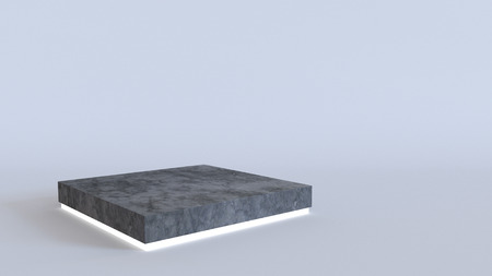 Empty concrete podium with neon light glowing on white background. 3D rendering.