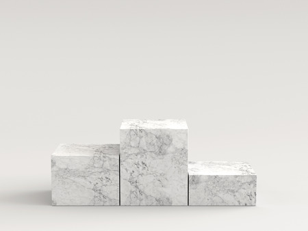 Empty white marble podium on white background. 3D rendering. Reklamní fotografie