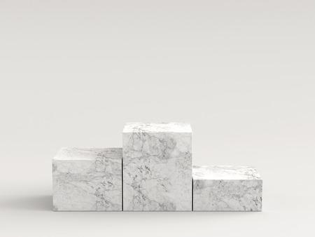 Empty white marble podium on white background. 3D rendering. Reklamní fotografie - 85814501