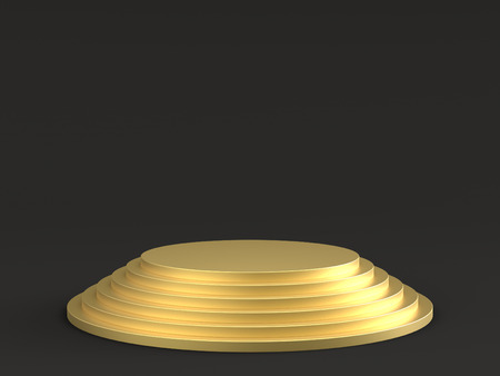 Empty gold podium stage on dark background. 3D rendering. Фото со стока