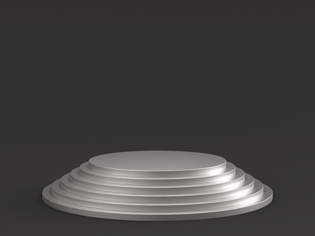Empty silver podium stage on dark background. 3D rendering.