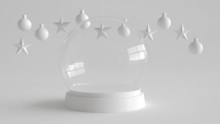 Glass dome with white tray on white background with hanging white balls and stars ornaments. For new year or Christmas theme. 3D rendering.