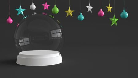 Glass dome with white tray on dark background with hanging colorful balls and stars ornaments. For new year or Christmas theme. 3D rendering.