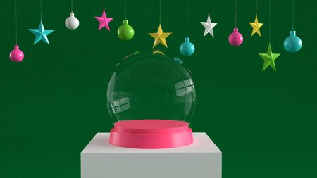 Empty snow glass ball with pink tray on white podium on green canvas background with hanging colorful balls and stars ornaments. For new year or Christmas theme. 3D rendering.