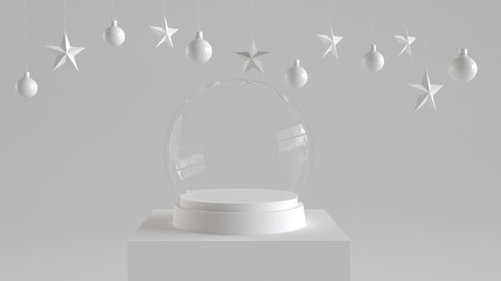 Empty snow glass ball with white tray and podium on white background with hanging  balls and stars ornaments. For new year or Christmas theme. 3D rendering.