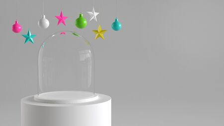Empty glass dome with white tray on white podium on white background with hanging colorful balls and stars ornaments. For new year or Christmas theme. 3D rendering.