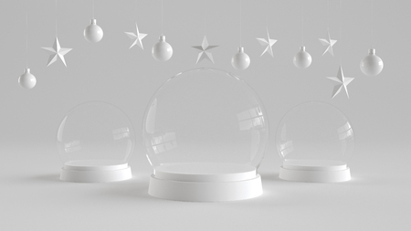 Three Glass dome with white tray on white background with hanging white balls and stars ornaments. For new year or Christmas theme. 3D rendering. Фото со стока