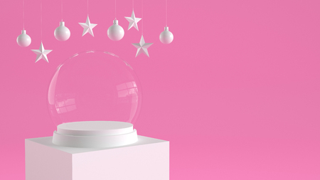 Empty snow glass ball with white tray and podium on pastel pink background with hanging  balls and stars ornaments. For new year or Christmas theme. 3D rendering. Фото со стока