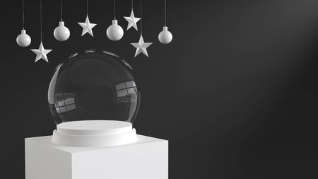 Empty snow glass ball with white tray and podium on dark background with hanging  balls and stars ornaments. For new year or Christmas theme. 3D rendering.