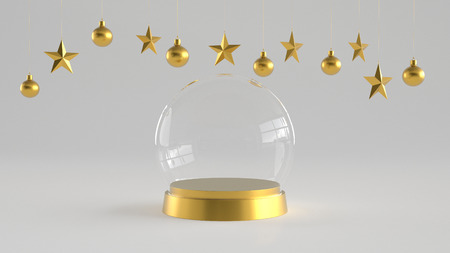 Empty snow glass dome with golden tray on white background with hanging white balls and stars ornaments. For new year or Christmas theme. 3D rendering. Archivio Fotografico
