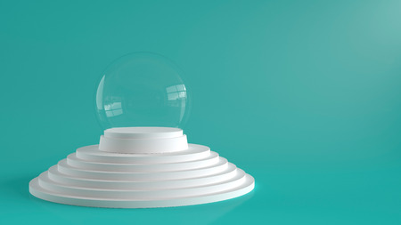 Empty snow glass ball with white tray on white steps podium with green background. 3D rendering.