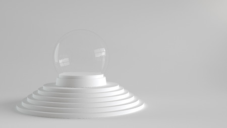 Empty snow glass ball with white tray on white steps podium with white background. 3D rendering.