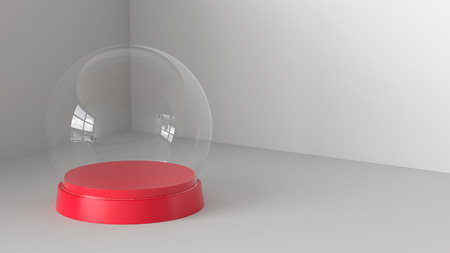 Empty snow glass ball with red tray on white background. 3D rendering. Фото со стока