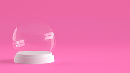 Empty snow glass ball with white tray on pink background. 3D rendering. Фото со стока