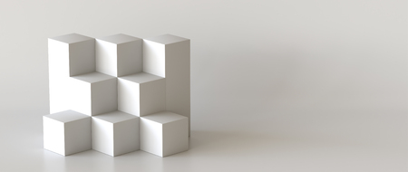 White cube boxes with white blank wall background for display. 3D rendering. Фото со стока