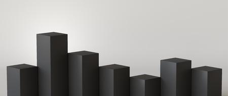 Empty black podium on white background. 3D rendering. Фото со стока - 121408971