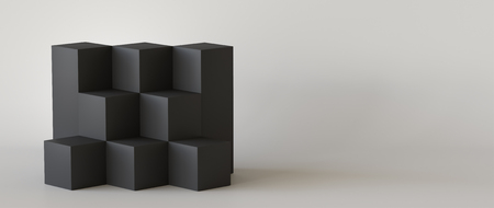 Black cube boxes with white blank wall background. 3D rendering. Фото со стока